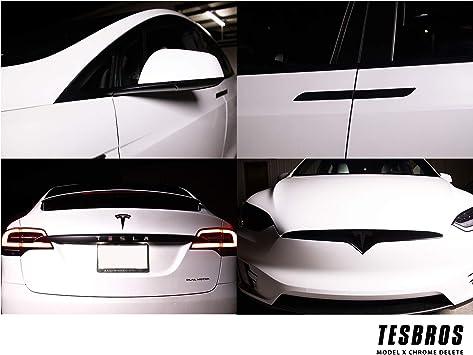 Amazon Com Tesbros Model X Complete Chrome Delete Kit Comes With 2 Full Black Out Kits Tesla Model X Accessories Made From 3m Automotive Vinyl Matte Black Automotive