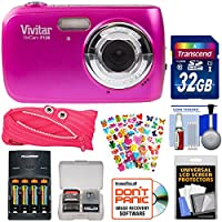 Vivitar ViviCam F126 Digital Camera with 32GB Card + Batteries & Charger + Pouch Case + Stickers Pack + Kit