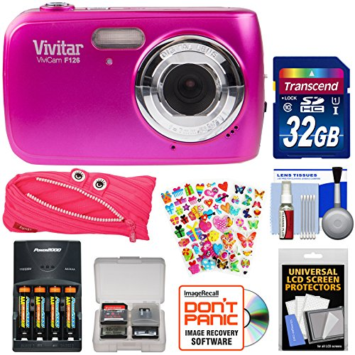 Vivitar ViviCam F126 Digital Camera (Pink) with 32GB Card + Batteries & Charger + Pouch Case + Stickers Pack + Kit by Vivitar