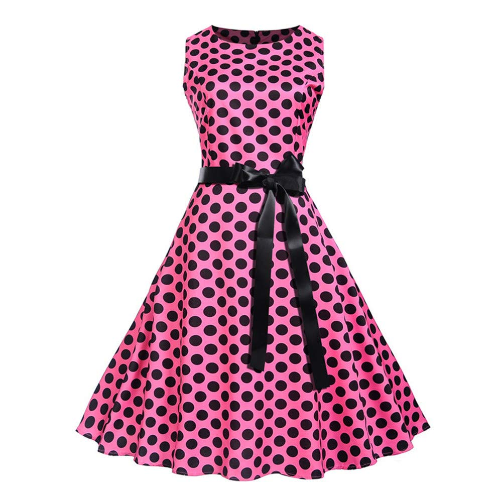 JESPER Women Vintage Princess Dot Printed Cocktail O-Neck Bandage Party Aline Dress Hot Pink