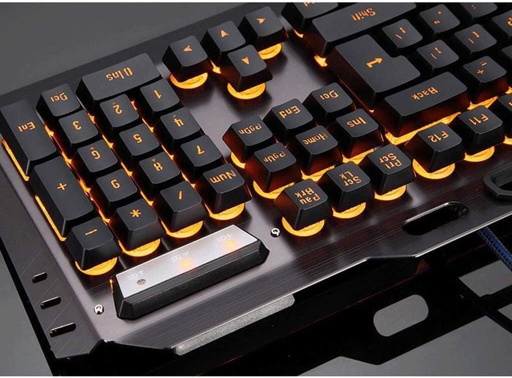 Game Office Typing USB Backlit YXNN Wired Keyboard Mouse Set Color : A Metal Keyboards Mouse Combo
