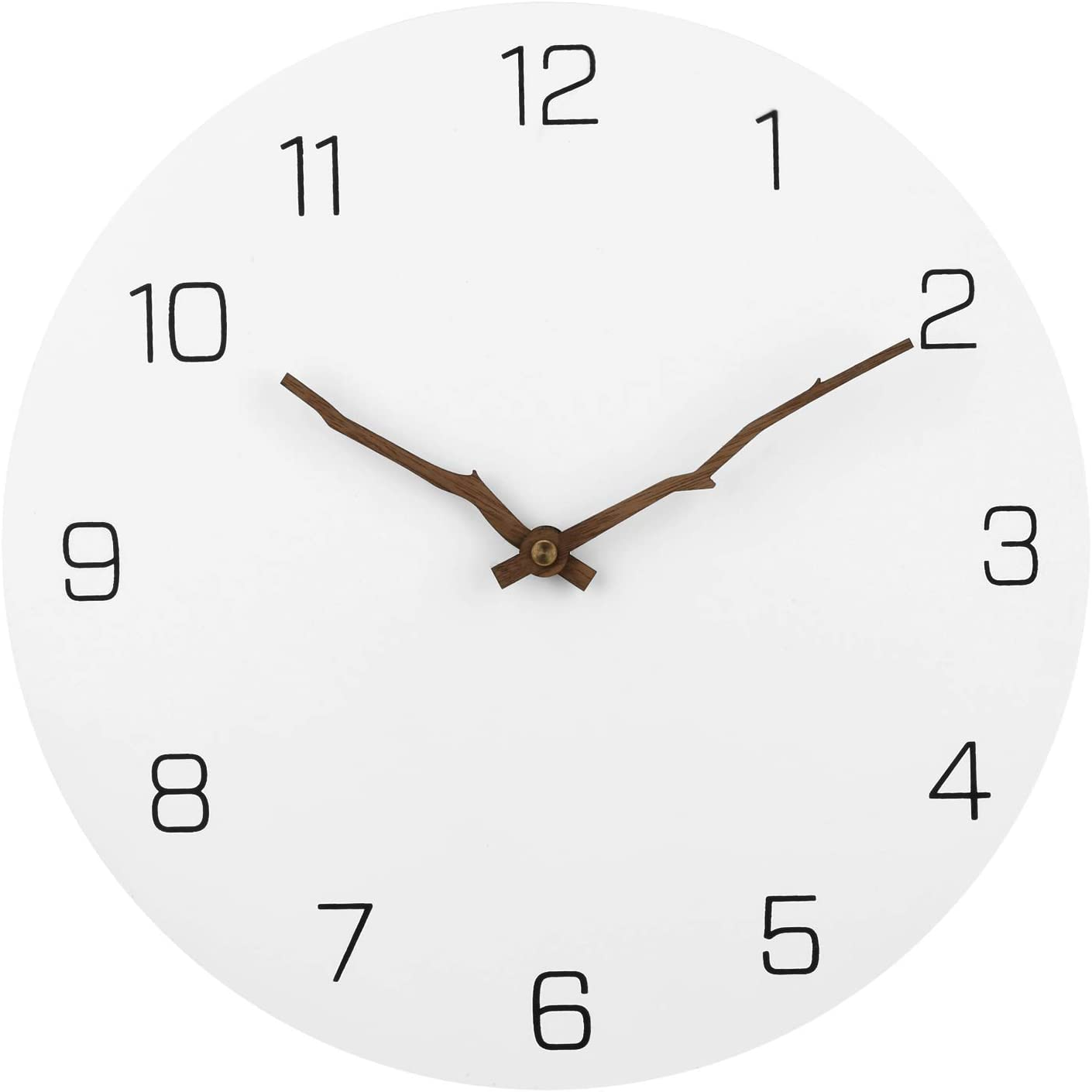 JoFomp Modern Simple Wooden Wall Clock, Large 16 inch Round Silent Non-Ticking Quartz Decorative Battery Operated Wall Clock for Living Room Home Office School Arabic Numeral Design (White, 16 inch)