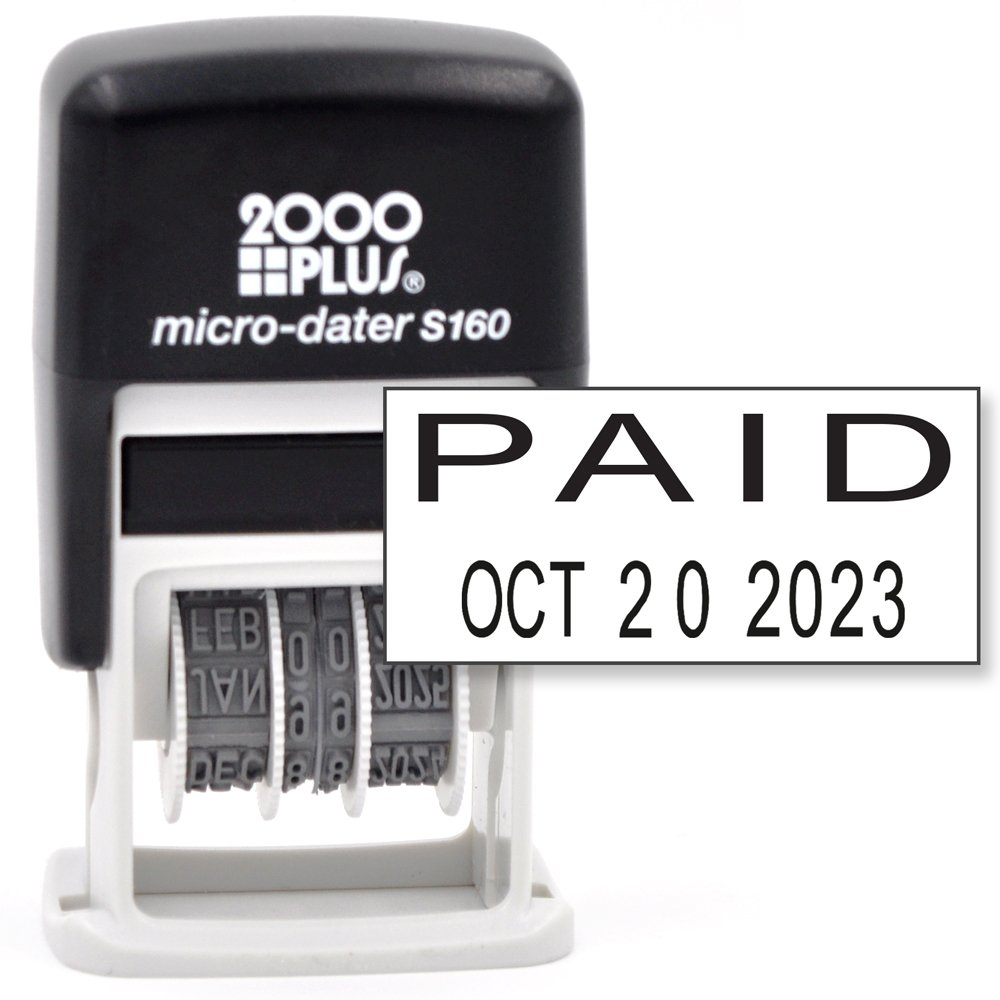 Cosco 2000 PLUS Self-Inking Rubber Date Office Stamp with PAID Phrase & Date - BLACK INK (Micro-Dater 160), 12-Year Band