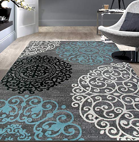 Rugshop Contemporary Modern Floral Area Rug 6'6″ x 9′ Gray