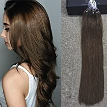 "Full Shine 16"" 1g per Strand 50 Gram Per Package Real Human Hair Micro Ring Hair Extensions Color#4 Chocolate Brown Loop Ring Micro Bead Extensions"