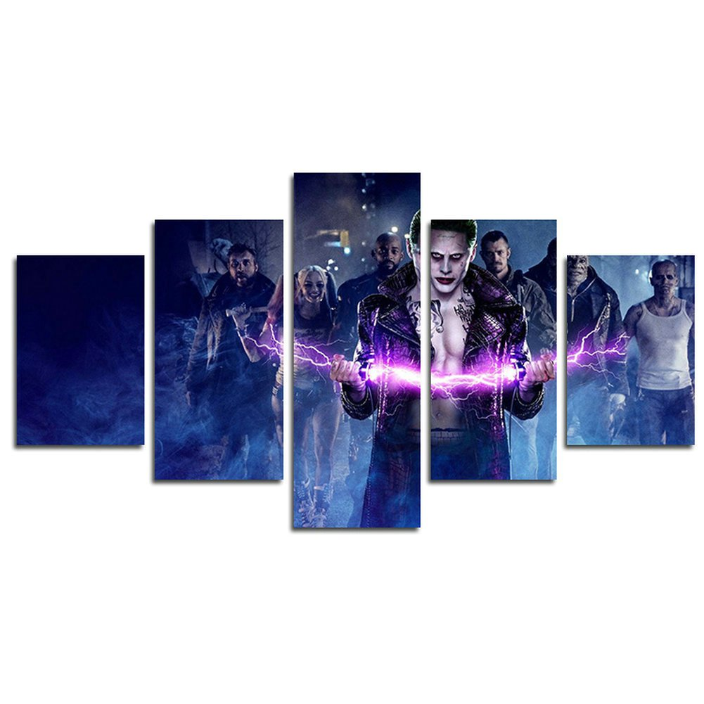 AtfArt 5 Piece Suicide team clown Harley Quinn movie painting for living room home decor Canvas art wall poster (No Frame) Unframed HB62 inch x30 inch
