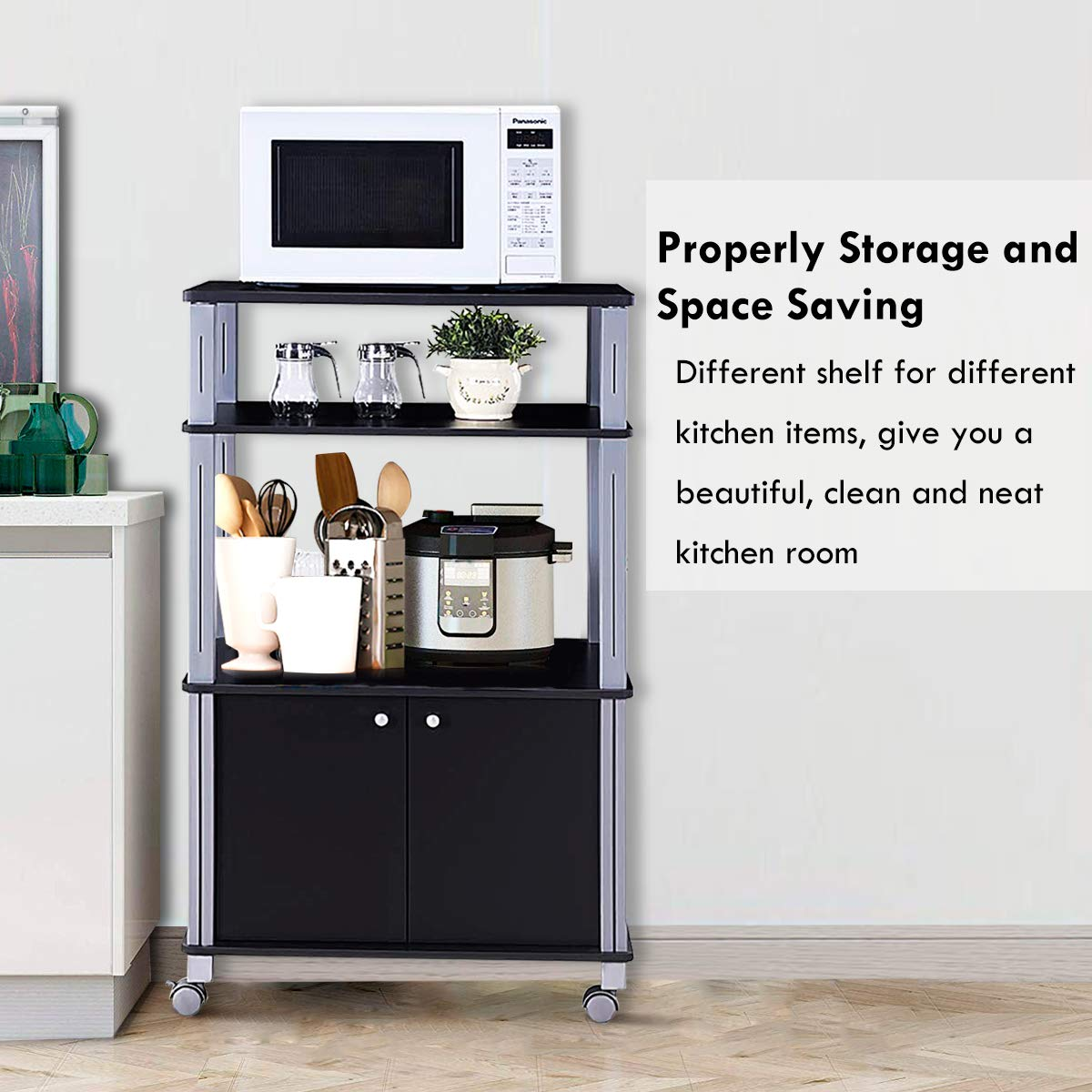 Giantex Rolling Kitchen Baker's Rack Microwave Oven Stand Utility Cart Multifunctional Display Shelf on Wheels with 2-Tier Shelf and Cabinet Spice Organizer for Kitchen Dining Room Furniture (Black) by Giantex (Image #3)