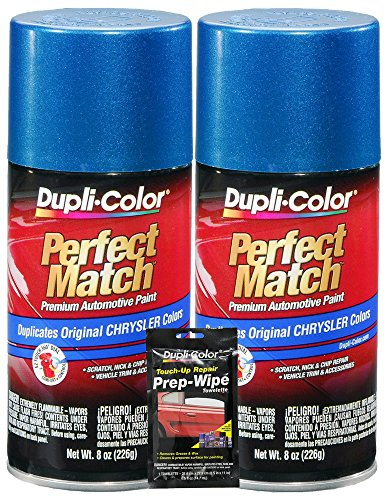 Intense Blue Pearl - Dupli-Color Intense Blue Pearl Chrysler Perfect Match Automotive Paint - 8 oz, Bundles with Prep Wipe (3 Items)