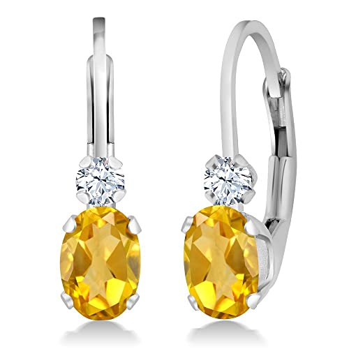 Gem Stone King 0.88 Ct Oval Yellow Citrine White Sapphire Sterling Silver Leverback Earrings