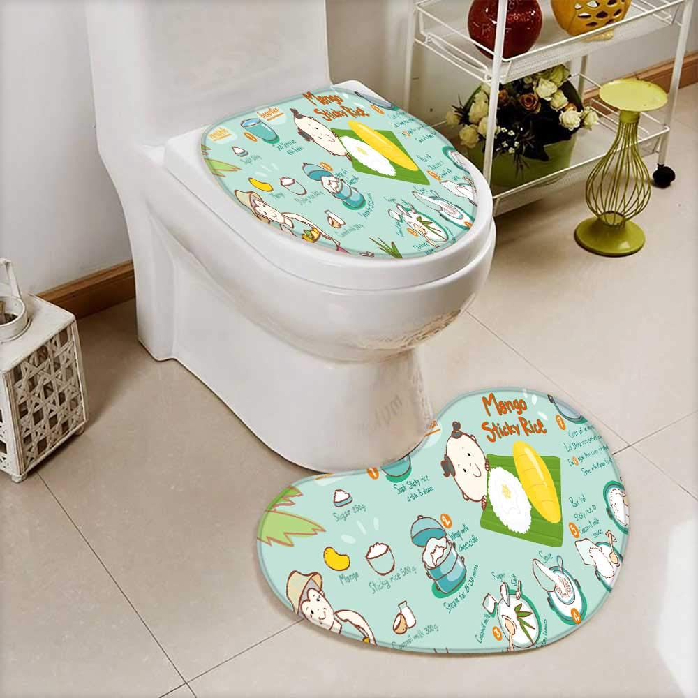 also easy Non Slip Bath Shower Heart shaped foot pad mango with sticky rice thai dessert vector illustration 2 Pieces Microfiber Soft
