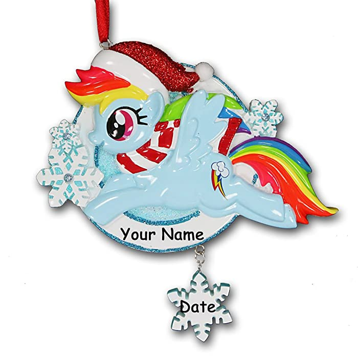 Personalized Officially Licensed My Little Pony Rainbow Dash in Glittered Santa Hat with Winter Scarf and Snowflakes Hanging Christmas Ornament with Your Custom Name and Date (Optional)