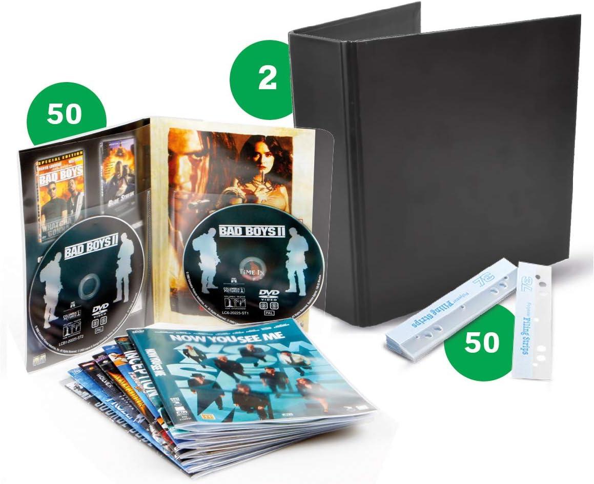 3L FR 10266- Pack de almacenaje de DVD con Doble Funda Transparente 50 Unidades – Archivador Negro 2 Unidades – Banda Adhesiva Perforada 50 Unidades: Amazon.es: Electrónica