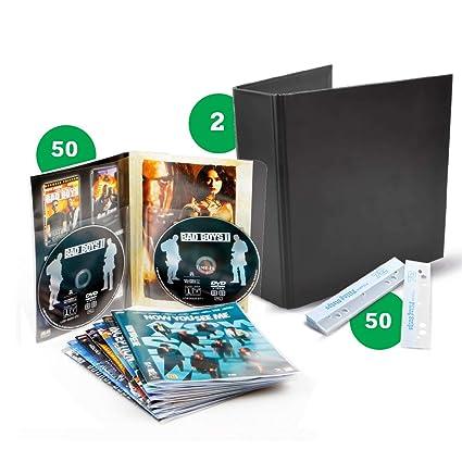 Pack de almacenamiento DVD – 50 Doble fundas DVD, 2 archivadores, 50 bandas