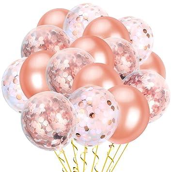 Pllieay - Globos de confeti de oro rosa de 30 cm (36 piezas, incluye