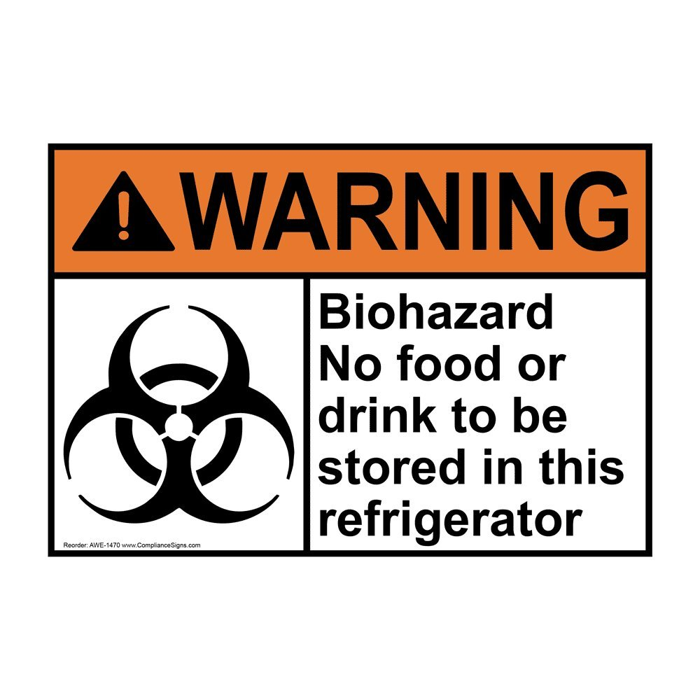 Warning Biohazard No Food Or Drink ANSI Safety Label Decal, 7x5 in. Vinyl for Medical Facility Hazmat by ComplianceSigns