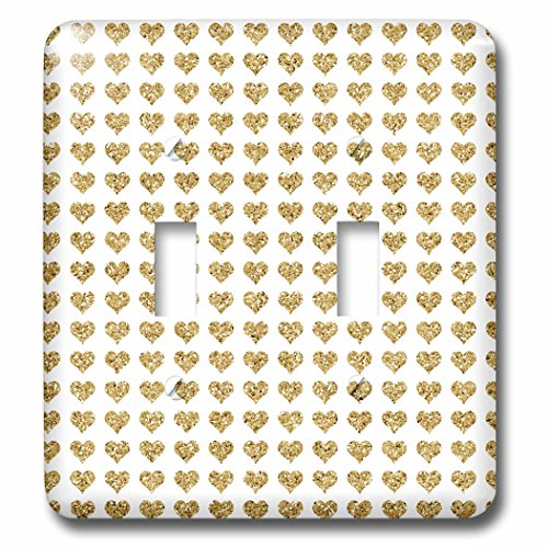 3dRose lsp_210778_2 Gold Glitter Effect Hearts Pattern - Double Toggle Switch