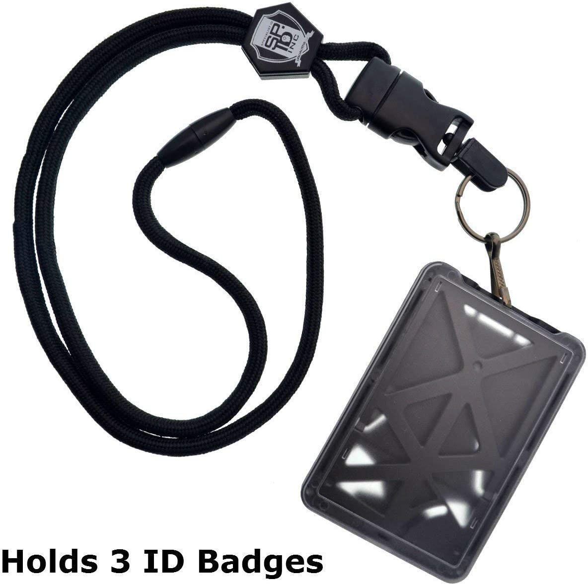 Specialist ID Vertical Top Load Three Card Badge Holder - Hard Plastic with Heavy Duty Breakaway Lanyard w Quick Release Metal Clip & Key Ring (One Holder / 3 Cards Inside) (Black) : Office Products