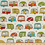 Robert Kaufman Kaufman On The Road Metallic Campers Ivory Fabric By The Yard