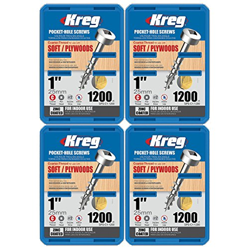 Kreg SPS-C1 1-inch Self-Tapping Pan-Head Coarse Pocket Screws, 4800-Pack by Kreg