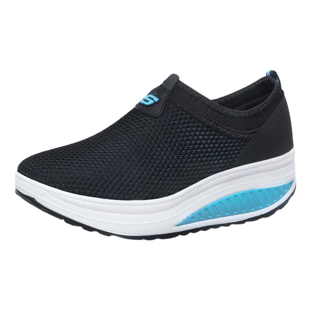 Tantisy ♣↭♣ Fashion Women's Net Grid Running Shoes/Lightweight Breathable/Comfy Platform Shoes/Heel High:4cm/1.6'' Black
