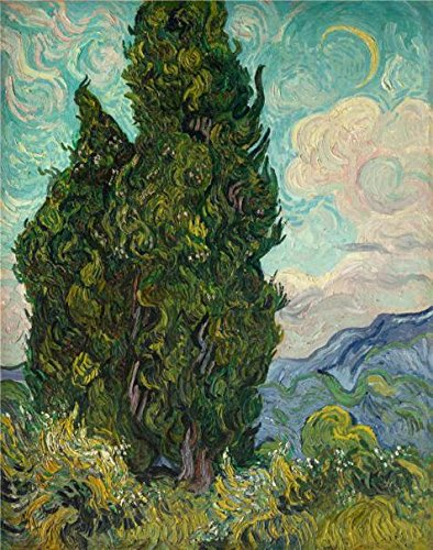 Lamp Deep Drape Bead - Oil Painting 'Vincent Van Gogh - Cypresses,1889', 18 x 23 inch / 46 x 58 cm , on High Definition HD canvas prints is for Gifts And Hallway, Home Office And Nursery Decoration, fast