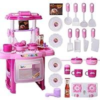 Little Monkey Cocina Cocinita Juguete Infantil Niña Electrónica Luces Sonido Utensilios Accesorios Regalo Playset Color Rosa Regalo para Niñas Divertido Juego de Cocina