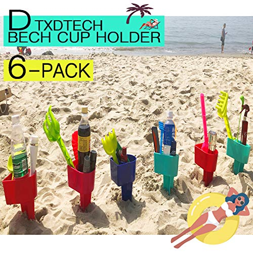 DTXDTech BEACH CUP HOLDER Multifunction Beach Cup Holder Sand Grass Drink Holder For Beverage Phone Sunglasses Sunscreen Key Vacation Accessory Beach Gear 6-Pack(Random -
