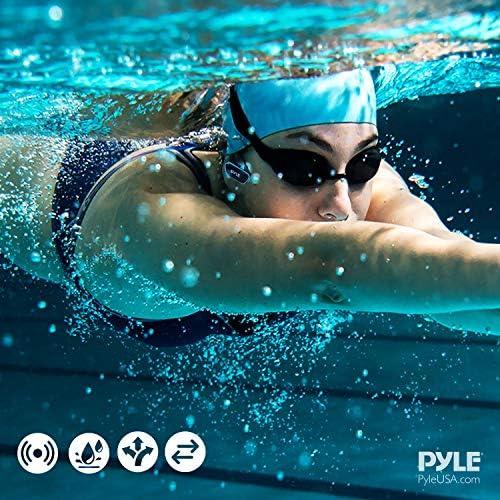Pyle PSWP6BK - Auriculares sumergibles para reproductor MP3, auriculares IPX8 de estilo envolvente e impermeables, conexión USB con 4 GB de memoria flash y almohadillas de repuesto