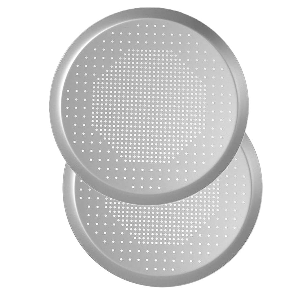 Prettyia 2pcs Round NonStick Perforated Hole Pizza Pan Bakeware Baking Tools 12 inch