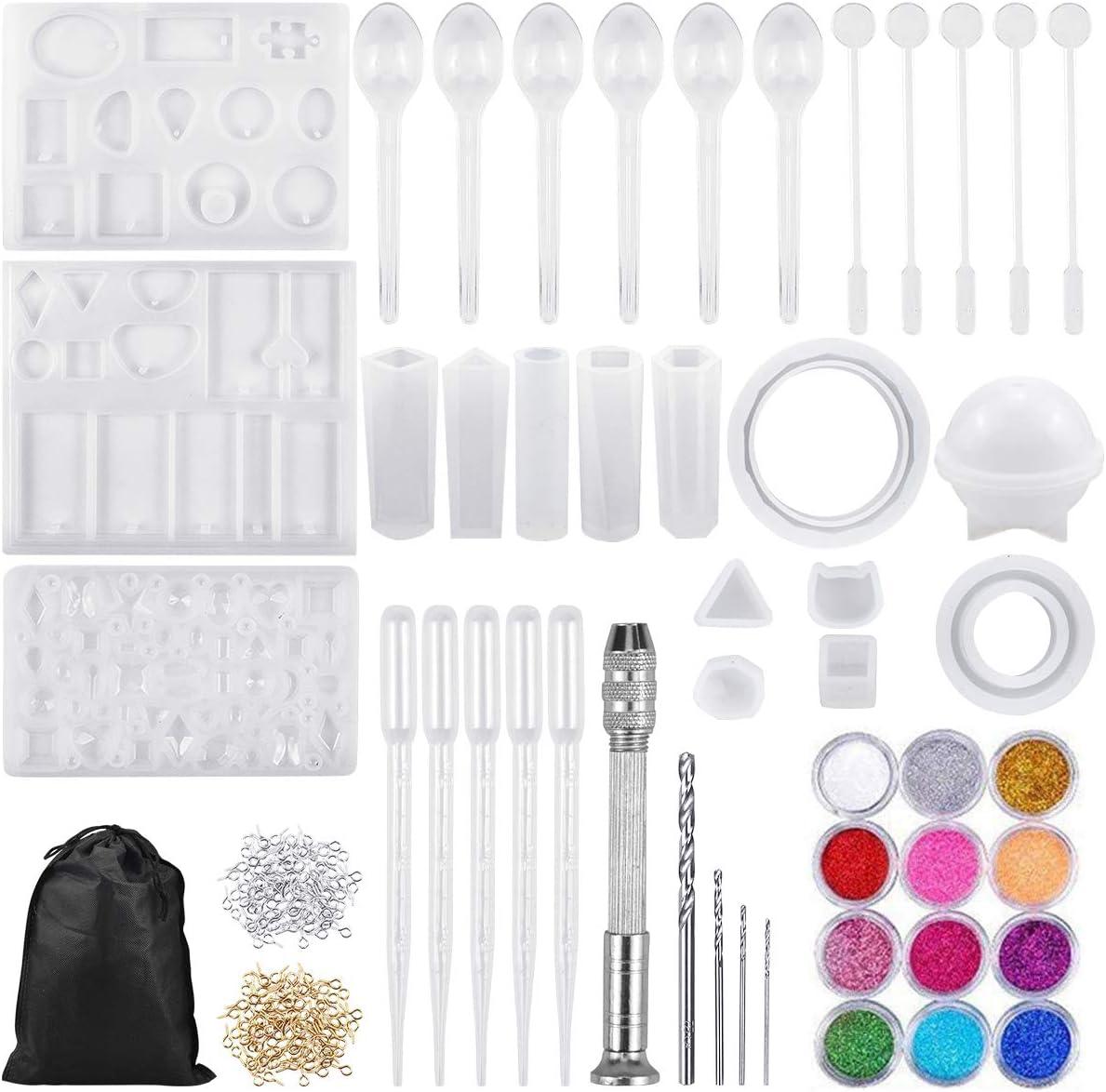 NATUCE 97 Pcs Molde Silicona Resina para Hacer Joyerias, Molde de Silicona de Diamante, Moldes de Resina para Collar Pendiente Fabricación de Colgante Bolas Cubos Pulsera Creativo Bricolaje