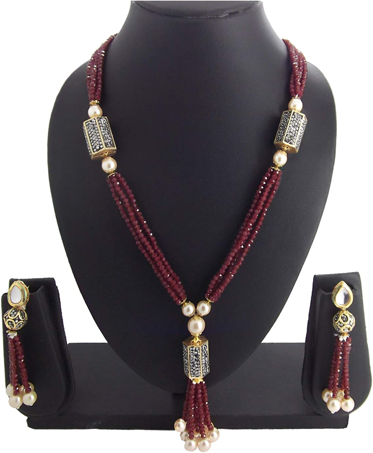 Areum 9blings Womens Christmas Collection Ruby Gold Plated Kundan Pearl Designer Necklace Set