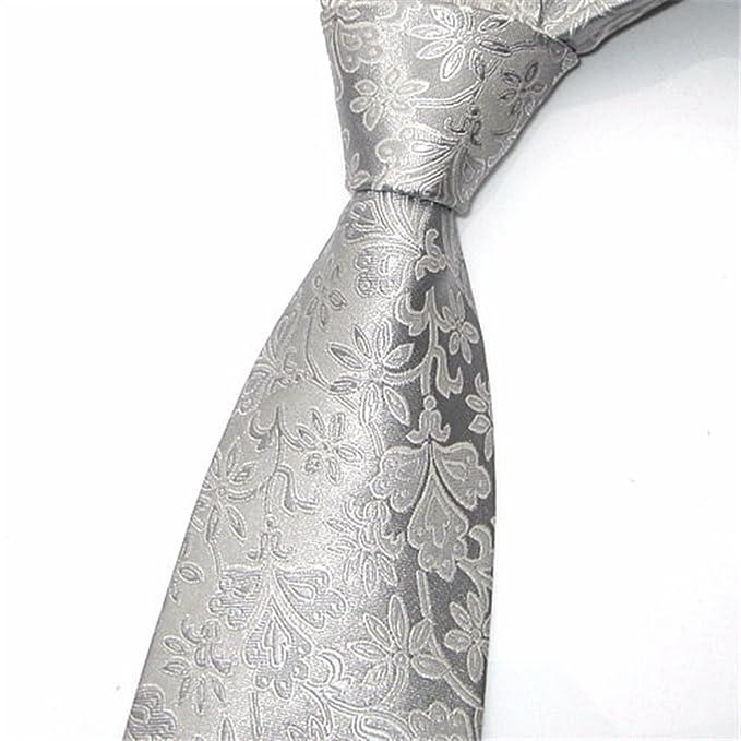 HXCMAN 8cm plateado gris Cachemira floral paisley corbata diseño ...
