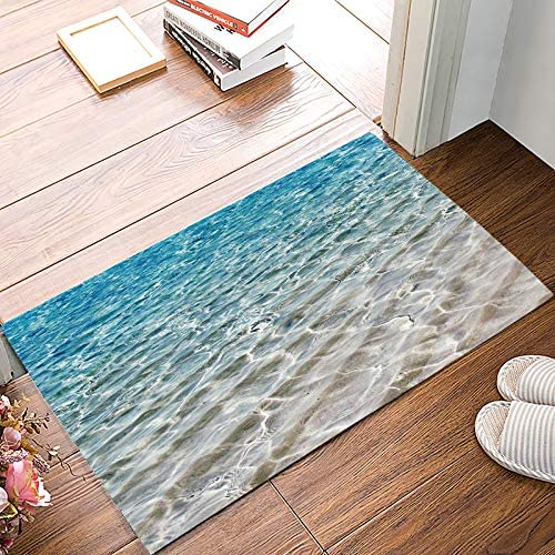 FAMILYDECOR Ocean Themed Door Mat Rugs, 20×31.5 Inch Indoor Outdoor Non Slip Entrance Front Door Doormat for Bathroom Kithchen Bedroom Living Room, Blue Sea Water Waves