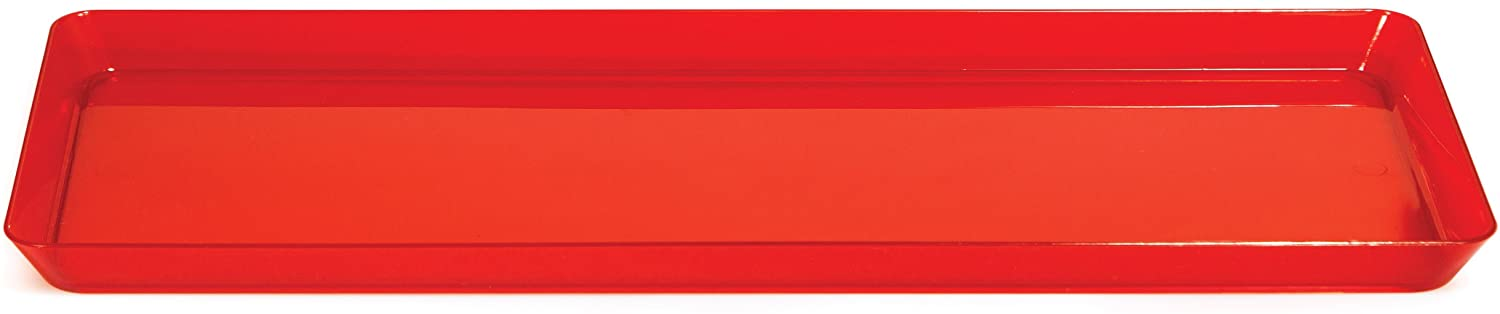 Creative Converting Rectangle Plastic Serving Tray, 15.5-Inch, Translucent Red