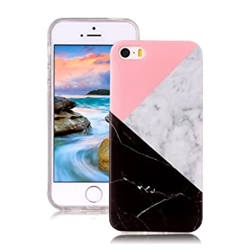 Yunbaoz Funda Compatible para iPhone 5S Mármol, iPhone SE Case Diseño Mármol Carcasa Suave Goma Silicona Soft Marble Case Suitable for Textura de ...