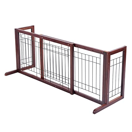 Amazon.com : Giantex Wood Dog Gate Adjustable Indoor Solid ...