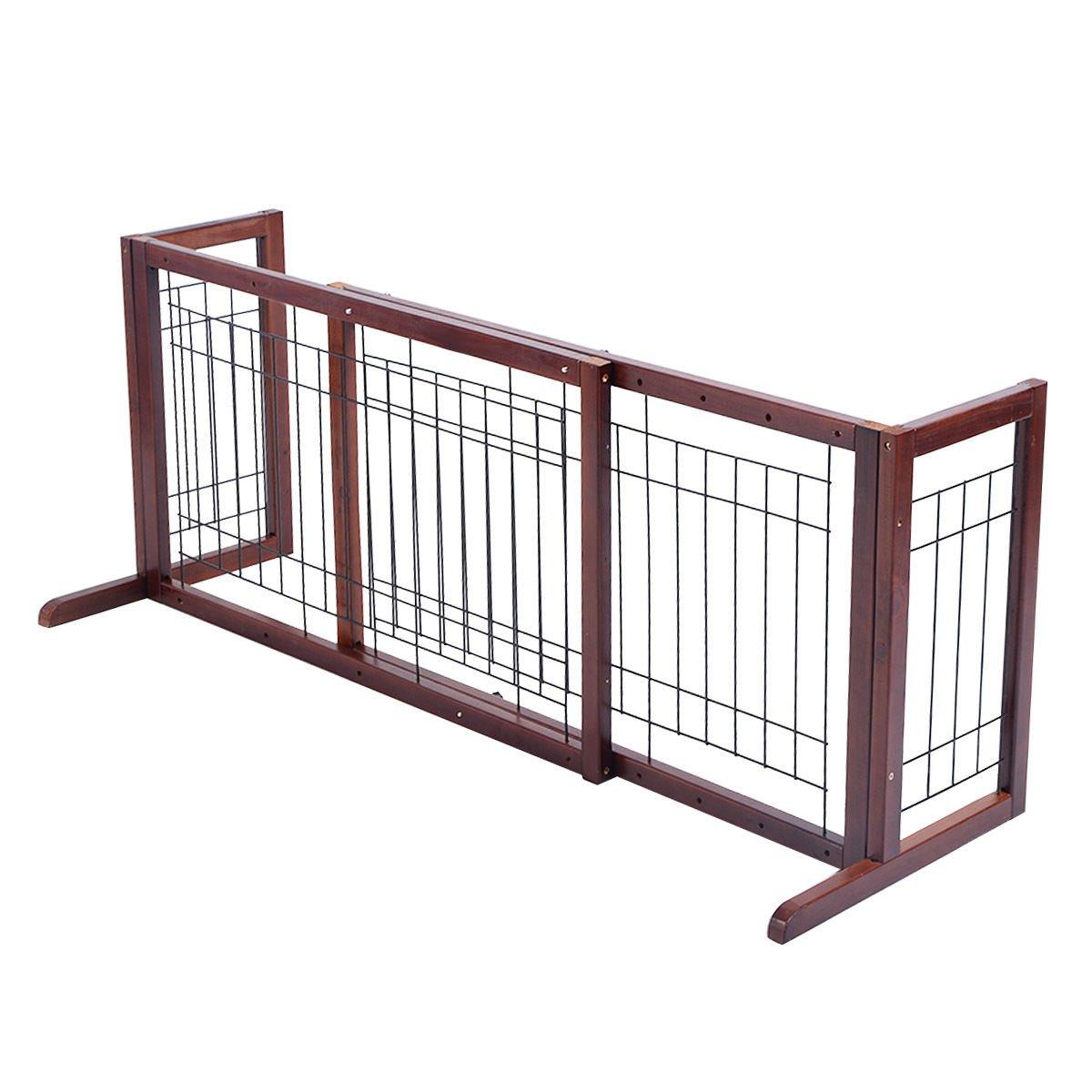 Giantex Wood Dog Gate Adjustable Indoor Solid Construction Pet Fence Playpen Free Stand
