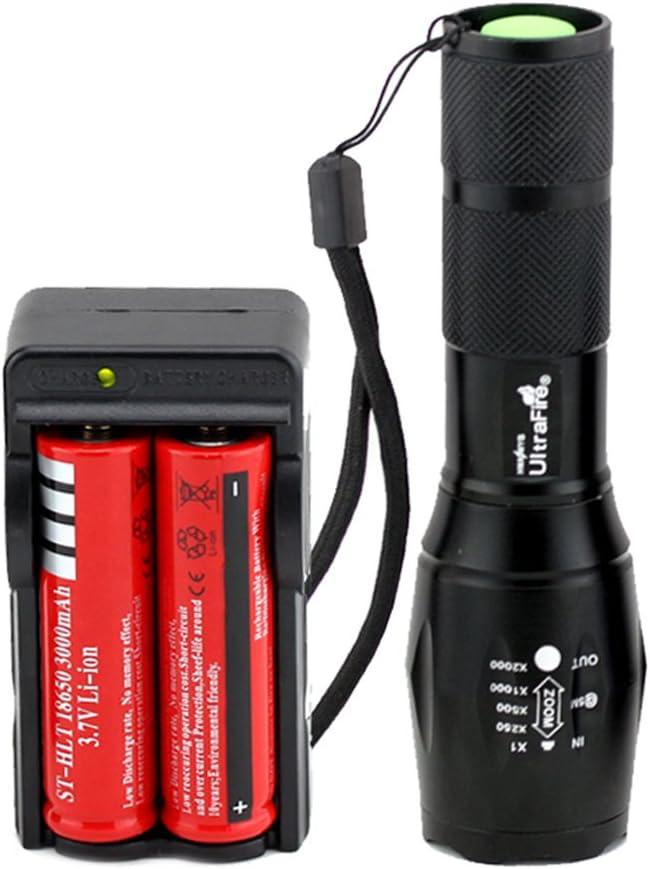 2pcs 5000 Lumnes XML T6 LED Mini Flashlight Zoomable Waterproof 18650 Torch lamp