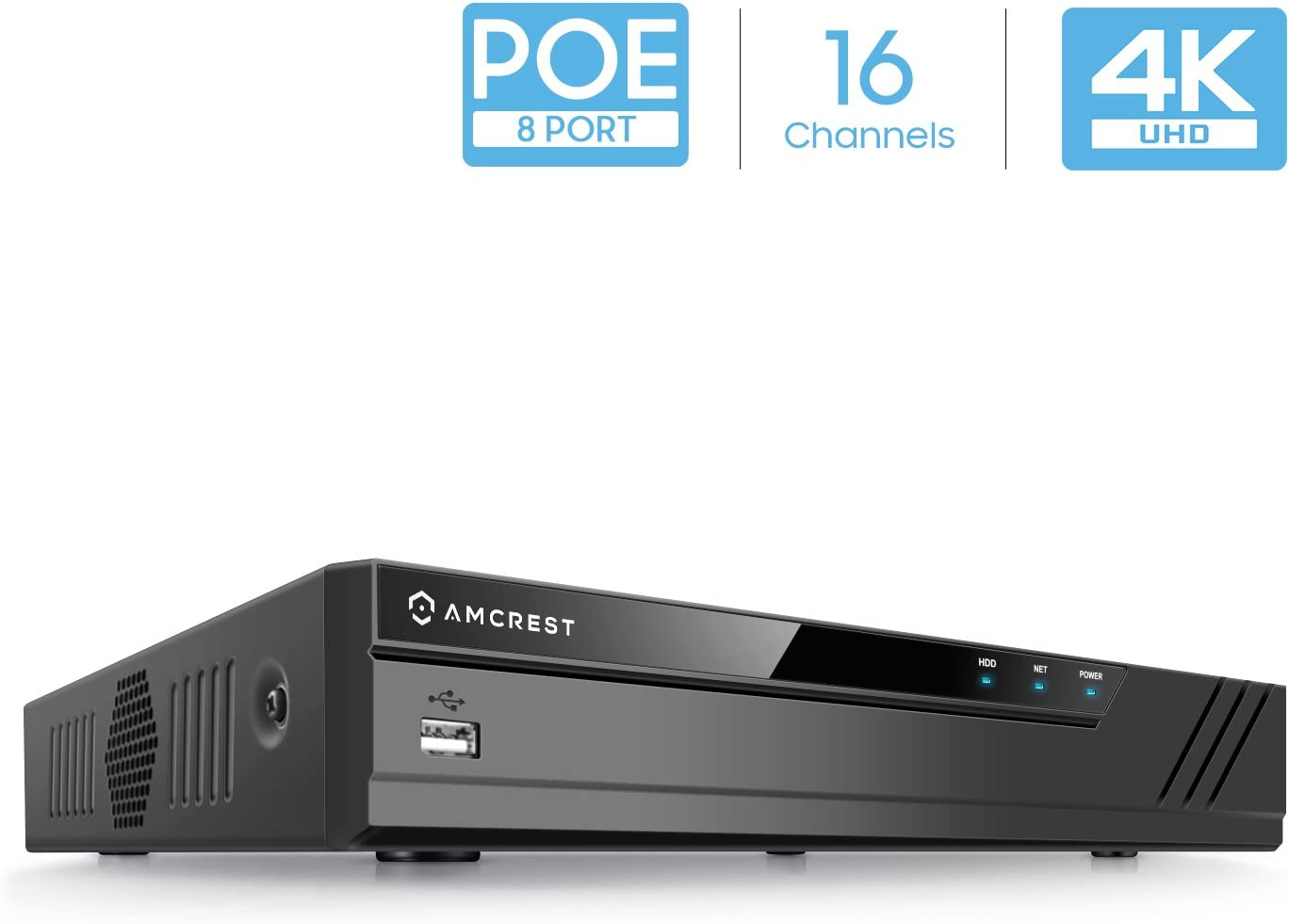 Amcrest NV4116E-HS (16CH 720p/1080p/3MP/4MP/5MP/6MP/8MP/4K) Network Video Recorder, 16CH (8-Port PoE) NVR - Supports up to 16 x 4K IP Cameras, Hard Drive Not Included (Supports up to 6TB) NV4116E-HS