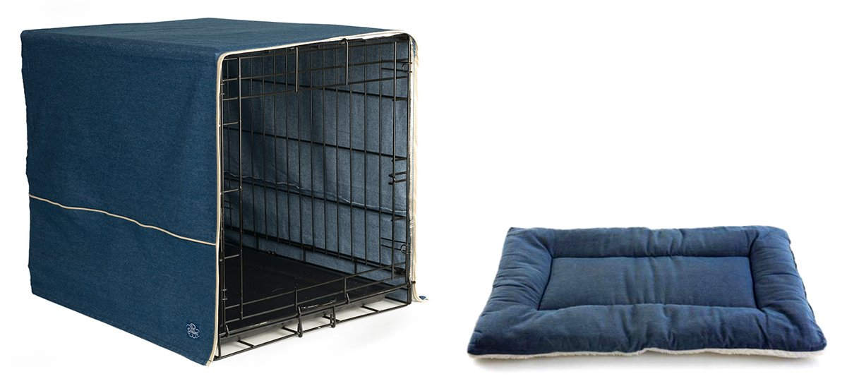 Pet Dreams Extra Large Classic Dog Crate Cover with XL Sleep-eez Bed (Denim)