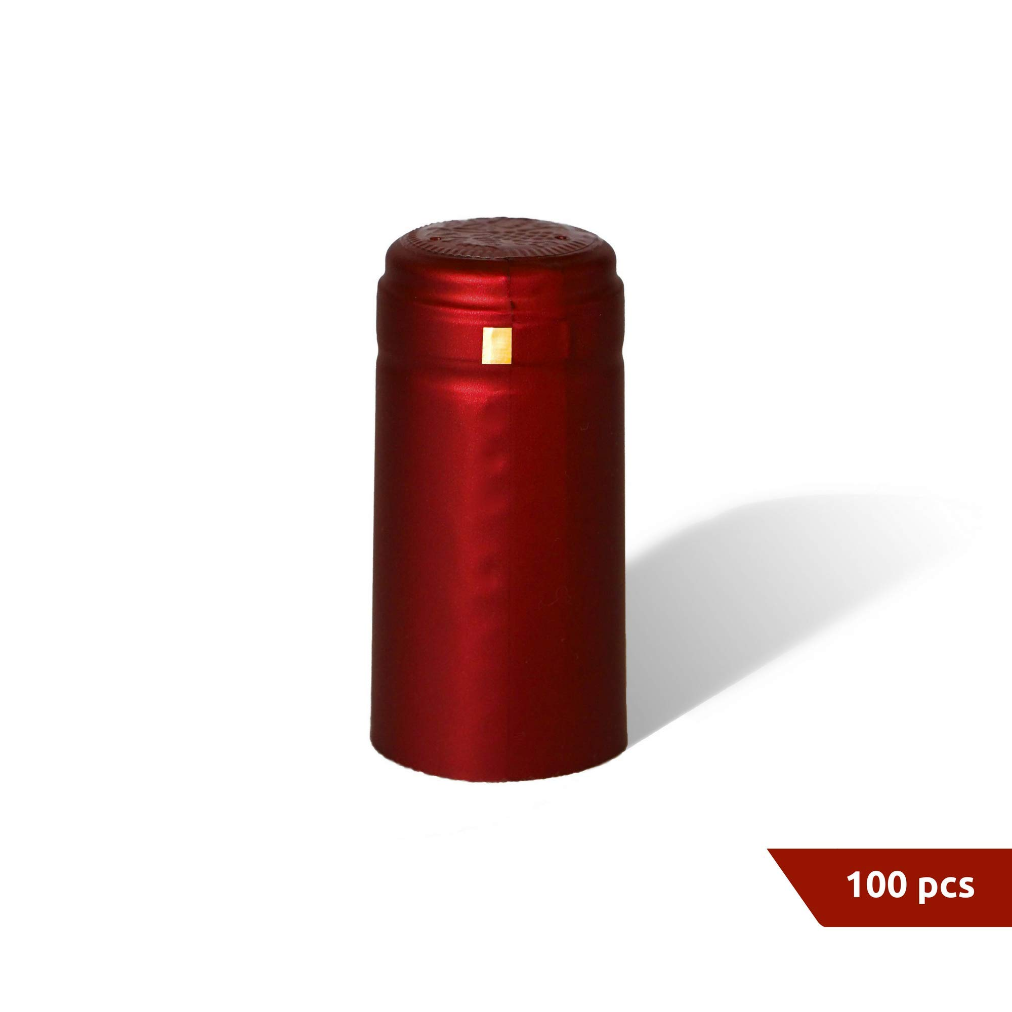 PVC heat shrink capsules with tear tab I Suitable for wine bottles I Satin burgundy finish, premium quality shrink bottle sleeves for professional and home use