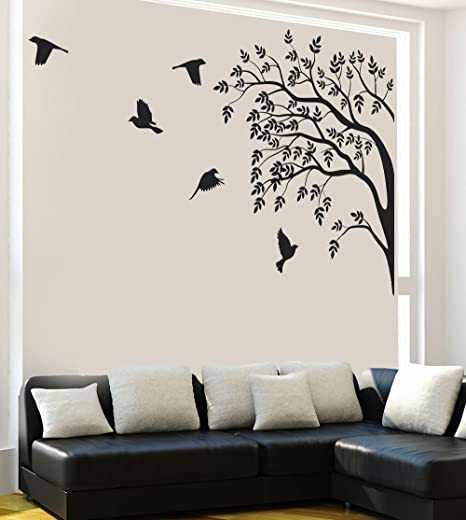 Way Decals Wall Sticker  9676  ''Black View of Birds and Trees'' Wall Stickers   Murals