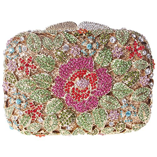 Damen Clutch Abendtasche Handtasche Geldbörse Glitzertasche Strass Kristall Edel Tasche mit wechselbare Trageketten von Santimon(7 Kolorit) Grün EsE3Rz