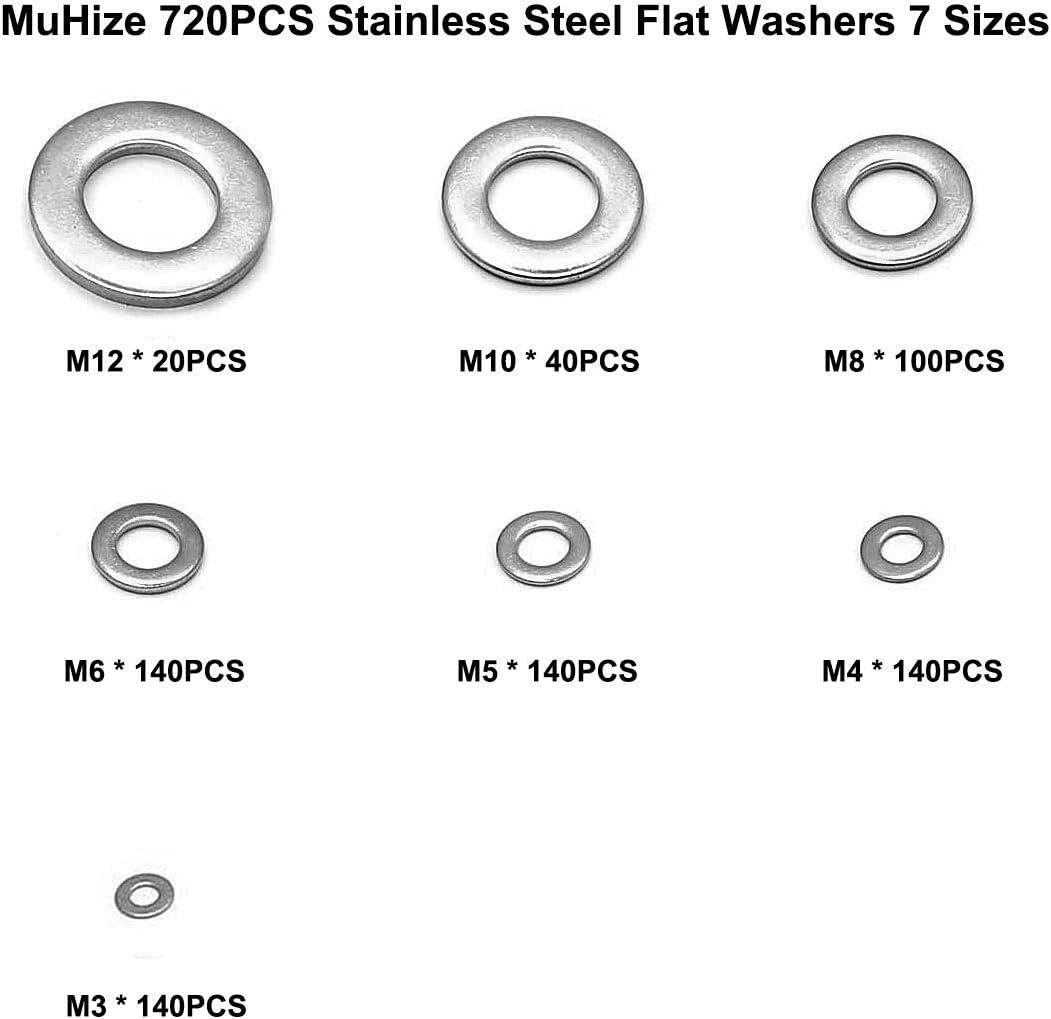 9 Sizes, M2 M2.5 M3 M4 M5 M6 M8 M10 M12 Muhize 304 Stainless Steel Flat Washers 580 PCS Washers Assortment Kit