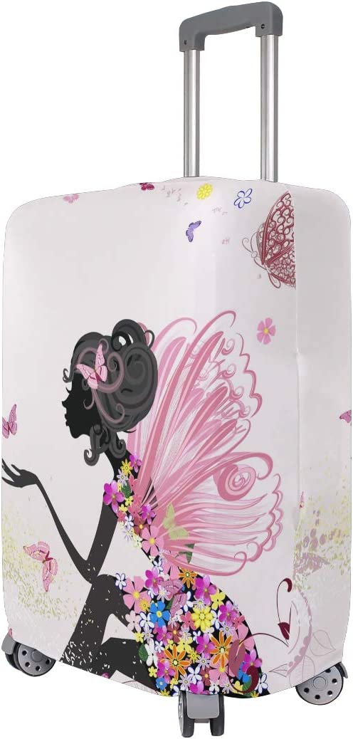 One Bear African American Black Woman Travel Luggage Cover Butterfly Flower Fairy Elastic Suitcase Dust-proof Case Protector Suitcase Baggage Fit 29-32 inch