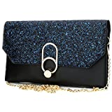 Women's Evening Envelope Clutch Bags Wristlet Purse Handbag with Adjustable Strap (Black)
