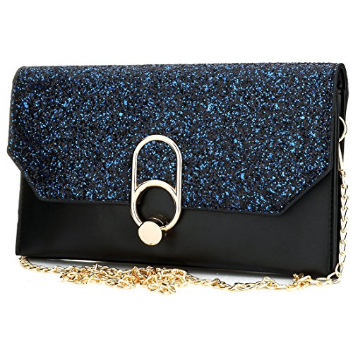 Women's Evening Envelope Clutch Bags Wristlet Purse Handbag with Adjustable Strap (Black) by IBELLA
