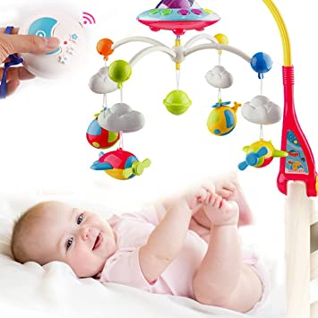 7df5d151d2c Amazon.com   Cartoon Baby Lullaby Nursery Crib Cot Musical Mobile Animal  Songs Bedtime Bed Bell Toys   Baby