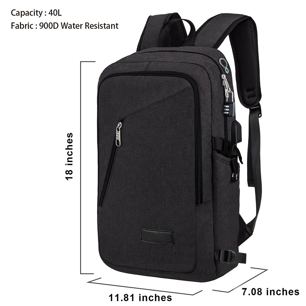 Slim Laptop Backpack, Business Computer Bag with Headphone Port, Anti Theft Travel Backpacks with USB Charging Hole for College