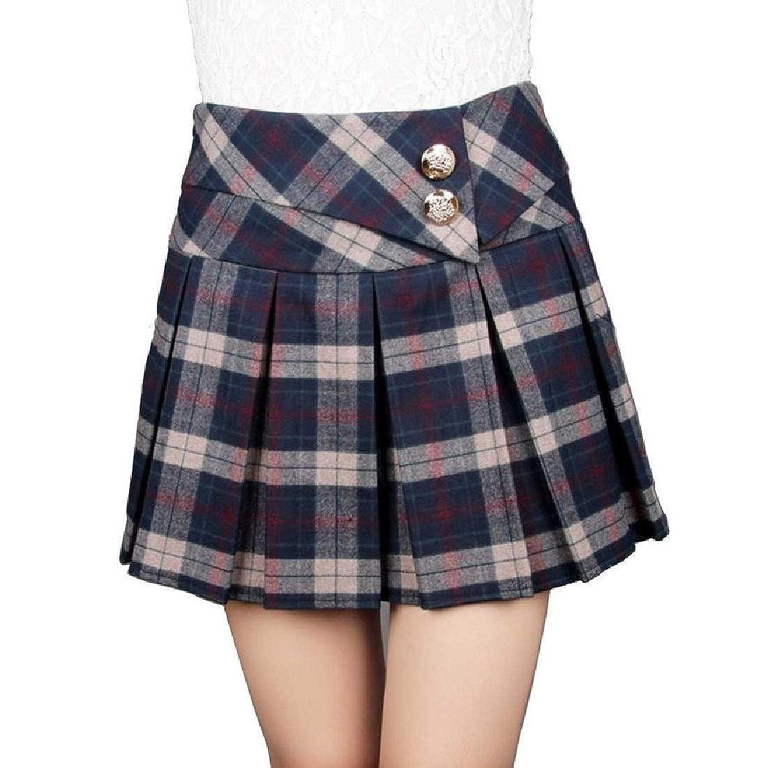 FreelyWomen School Fall Winter Skater Bodycon Plaid Thick Mini Skirt